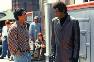 M. Night Shyamalan and Samuel L. Jackson on the set of Unbreakable